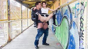 CHICAS LOCA - Sexy tattooed Spanish chick Mey Madness in crazy public fuck on a bridge