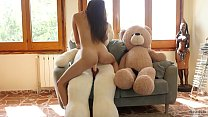 Asian japanese girl Miyuki first sex with plush toys after fitness workouts