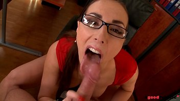 Deep throat rewards by businesswoman Paige Turnah make him cum on her tits