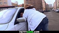 Fat ass chubby girl picks up him with ease