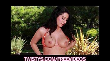 Beautiful bikini clad brunette fingers herself to a HOT orgasm 7 min