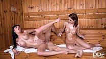 Busty babes Valentina Ricci & Kathy Fuckdoll share stud's big cock in sauna