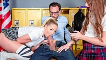 SCAM ANGELS - Slutty college girls Izzy Lush and Sophia Lux seduce and blackmail their teacher