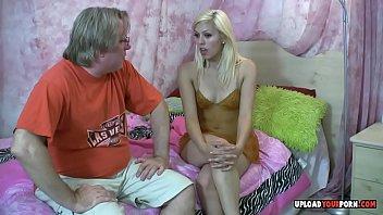 Blonde teen loves his hard granddad dick