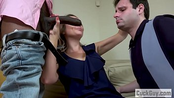 Elle McRae and her sissy cuckold sharing a black cock