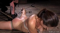 Hogtied small tits beauty suspended