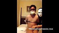 Bondage and humiliation of male slave