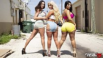 BANGBROS - Rose Monroe, Brandi Bae and Ariella Ferrera Runnin' s. On The Fuck Team Five