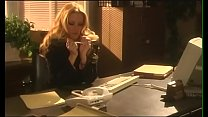 Longhaired man took occasion to poke his administrative assistant Jessica Drake who was  head over heels in love with him on her working table