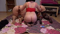 Passionate orgy of three mature lesbians with big asses, licking hairy pussy and deep fisting to orgasm.
