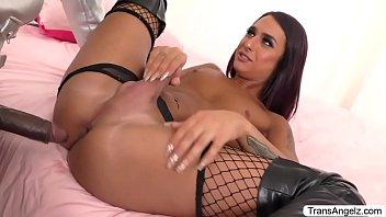 Sexy Latina TS Khloe gets banged by Seans big black cock