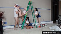 Three Horny Babes Fuck Lucky House Painter - Alice Pink, Jessica Jewels, Vienna Black