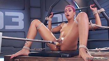 Tight bodied ebony fucks machine in bondage