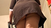 BBW with a anal plug in a fat ass runs on a treadmill, and then completely undresses in a public place. Fetish compilation.