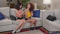 Two horny petite lesbians passion massage and fingering