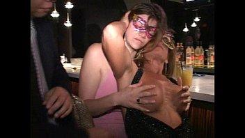 Pink nipple MILF Anna sucks tits cunt and cock at Trapeze club bar