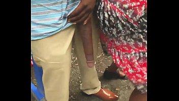 Huge! Big Black Dick Flash in Public Bus Stop