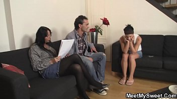 Hot threesome with young chick and old couple