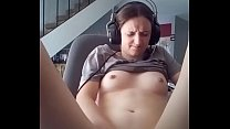 Cumming at the computer to my fiancée