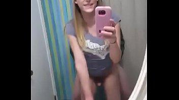 Blonde trap mirror fucking
