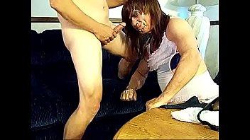 Crossdresser Kimmy has strapon fun that leads to a facial!