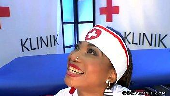 Ebony nurse mimi enjoys swallows and sucking