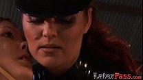 Latex femdom strapon banging submissive lesbian