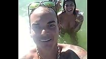 Having fun with hot chicks at sea in boat