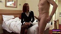 Babe jerks cock in hotel room femdom scene