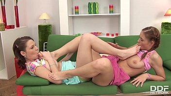Cute lesbians Edy Violet & Netty get off over socks, sexy toes & sneakers