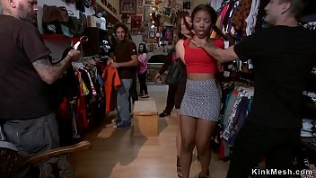 Ebony fucked for public in vintage shop