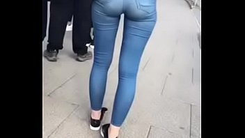 UK petite ass waiting in bus line