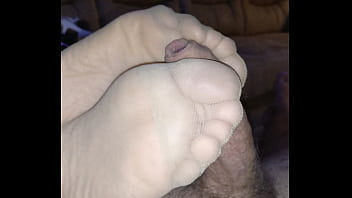 footjob with nylon socks and cumshot