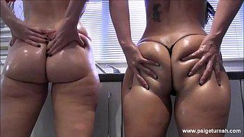 BBW PAWG Paige Turnah in bikini natural tits covers big ass in oil twerk lesbians