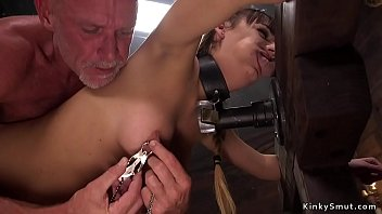 Wayward slave gets heavy clamps and cock