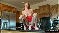 Turned on teeny jumping her favorite dildo on table