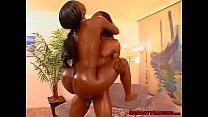 Curvy ebony babe with a big ass blows BBC before hard fuck