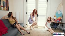 3 redhead 2nd cousins lick and tribbing