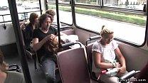 Chestnut babe fucking in public bus