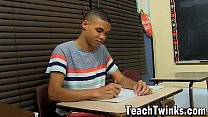 Petite black homo relentlessly fucked by his buff teacher