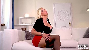 Dildo sucking and fucking solo with blonde Hungarian milf Tiffany Rousso