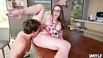 Busty horny milf Chanel Preston fucks her lazy stepson until he is ready to explode