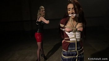 Shackled and butt plugged lesbian crawl