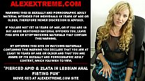 Pierced Apid & Zlata in lesbian anal fisting fun 75 sec