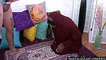 Black muslim kneels and sucks a big cock