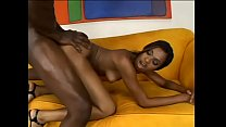 Ebony babe with sexy ass Divine gets oiled and fucked by ebony dick on sofa