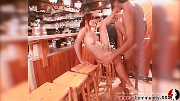 ANAL! Naughty German girl pounded by strangers in bar