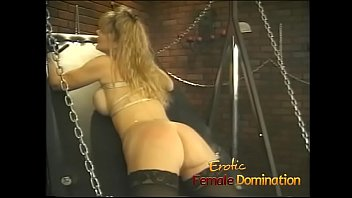 Curvy busty blonde slave gets her big ass flogged really hard