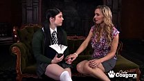 Slutty Lucia Love and Tanya Tate rubbing their shave vaginas