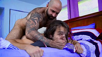 Fucked roughly by his hairy stepdad - gay porn